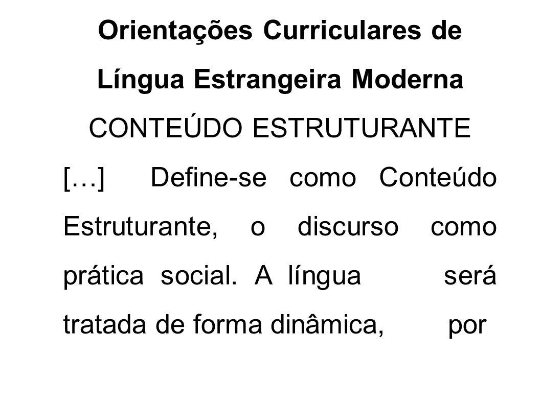 Orientações Curriculares de Língua Estrangeira Moderna CONTEÚDO ESTRUTURANTE […] Define-se como Conteúdo Estruturante, o discurso como prática social.
