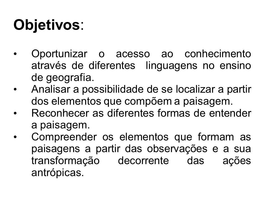 Objetivos: Oportunizar o acesso ao conhecimento através de diferentes linguagens no ensino de geografia. Analisar a possibilidade de se localizar a pa