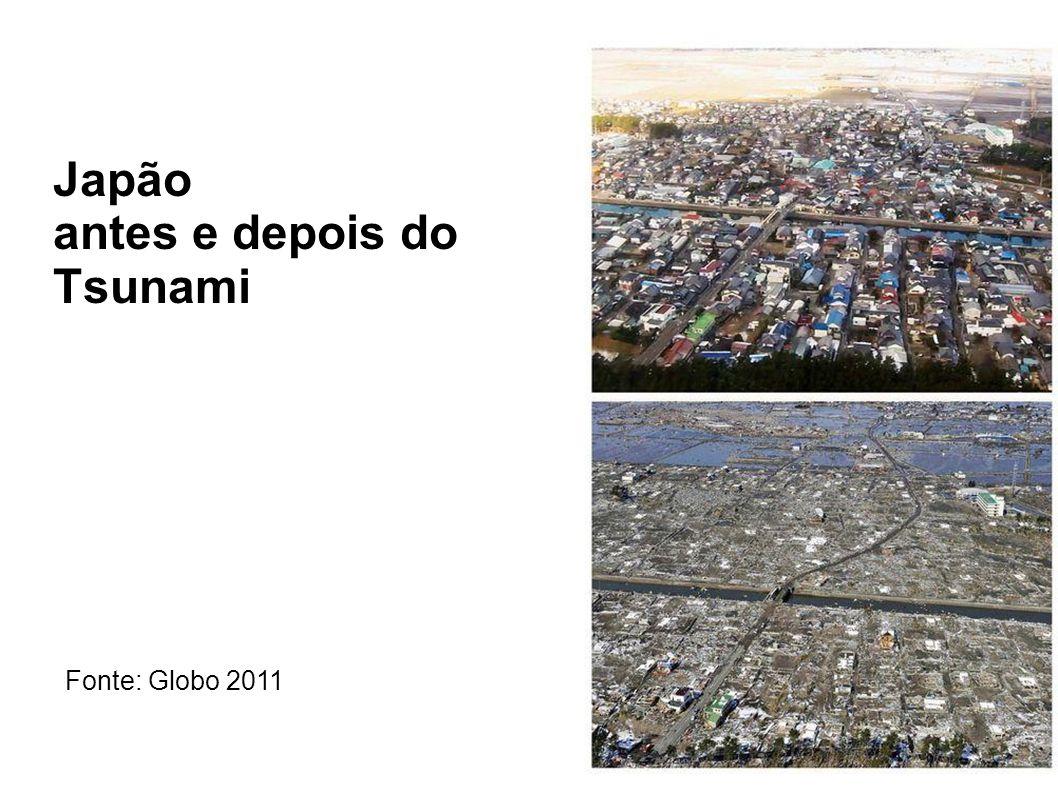Japão antes e depois do Tsunami Fonte: Globo 2011