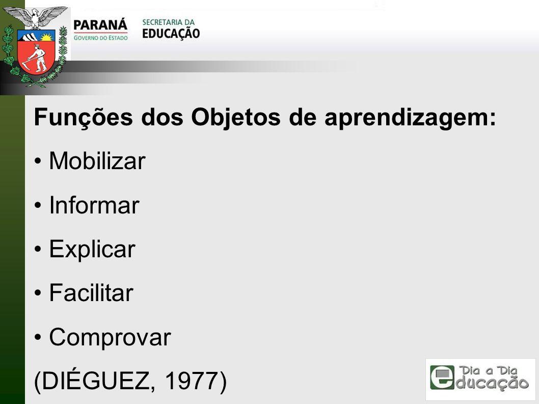 Funções dos Objetos de aprendizagem: Mobilizar Informar Explicar Facilitar Comprovar (DIÉGUEZ, 1977)