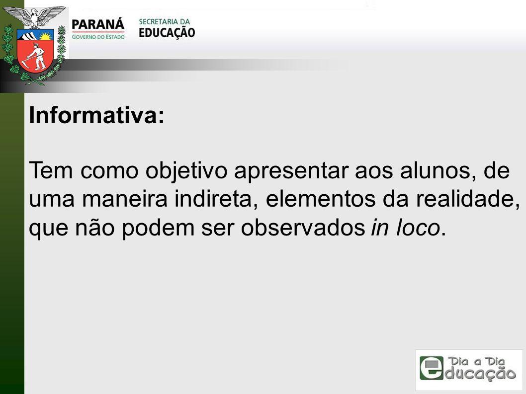 Informativa: Tem como objetivo apresentar aos alunos, de uma maneira indireta, elementos da realidade, que não podem ser observados in loco.