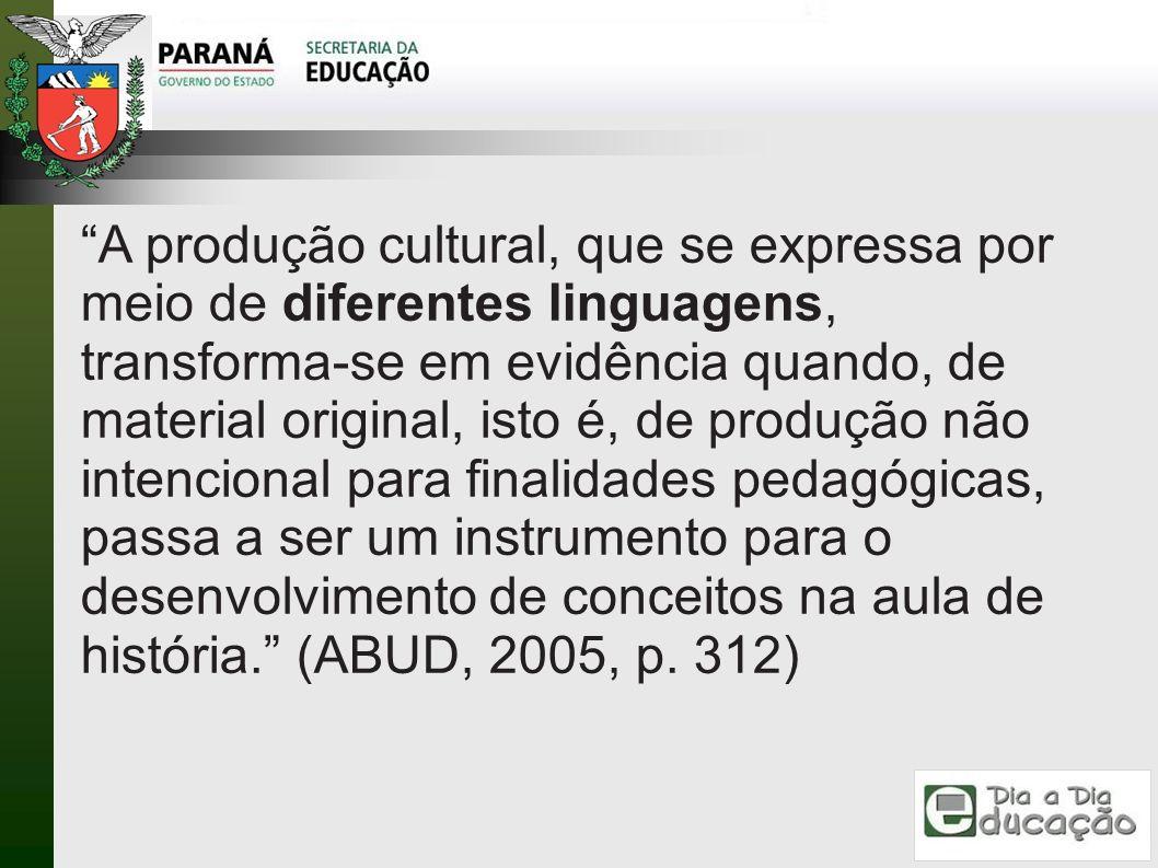 A produção cultural, que se expressa por meio de diferentes linguagens, transforma-se em evidência quando, de material original, isto é, de produção n