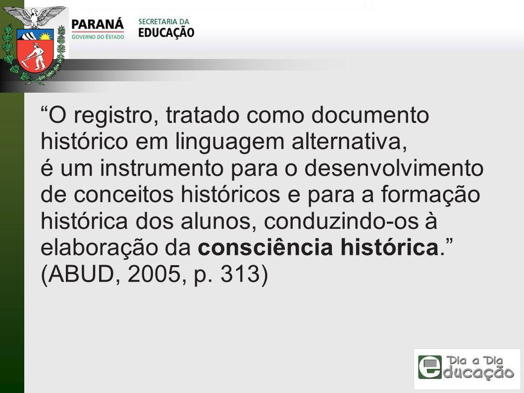 O registro, tratado como documento histórico em linguagem alternativa, é um instrumento para o desenvolvimento de conceitos históricos e para a formaç