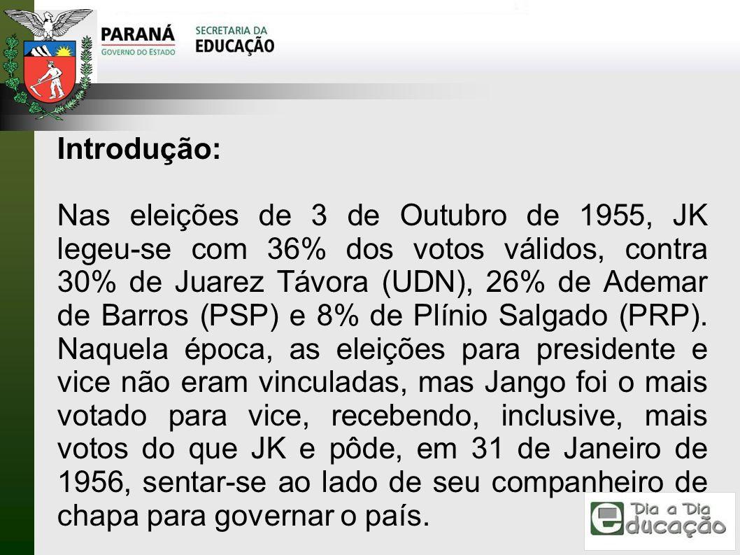 Introdução: Nas eleições de 3 de Outubro de 1955, JK legeu-se com 36% dos votos válidos, contra 30% de Juarez Távora (UDN), 26% de Ademar de Barros (P