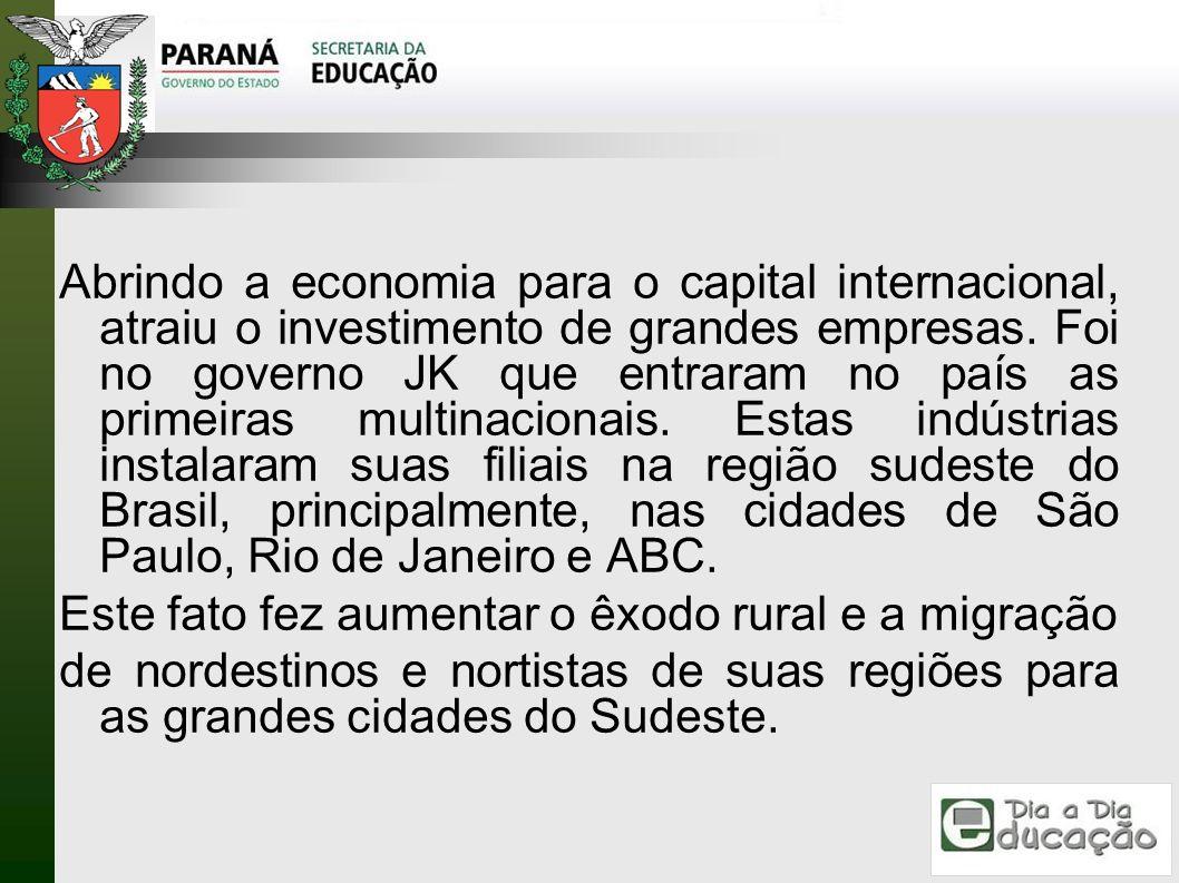 Abrindo a economia para o capital internacional, atraiu o investimento de grandes empresas. Foi no governo JK que entraram no país as primeiras multin