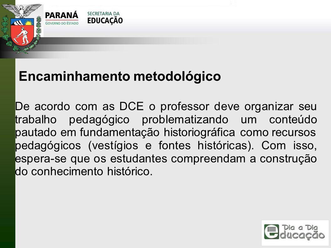 Encaminhamento metodológico De acordo com as DCE o professor deve organizar seu trabalho pedagógico problematizando um conteúdo pautado em fundamentaç