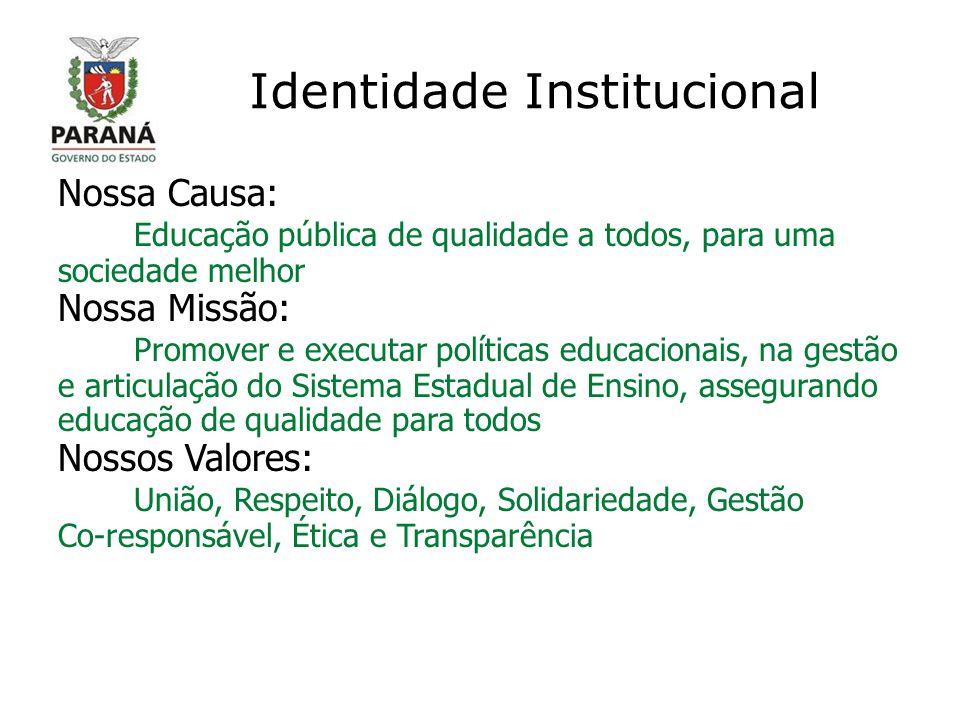Identidade Institucional Nossa Causa: Educação pública de qualidade a todos, para uma sociedade melhor Nossa Missão: Promover e executar políticas edu