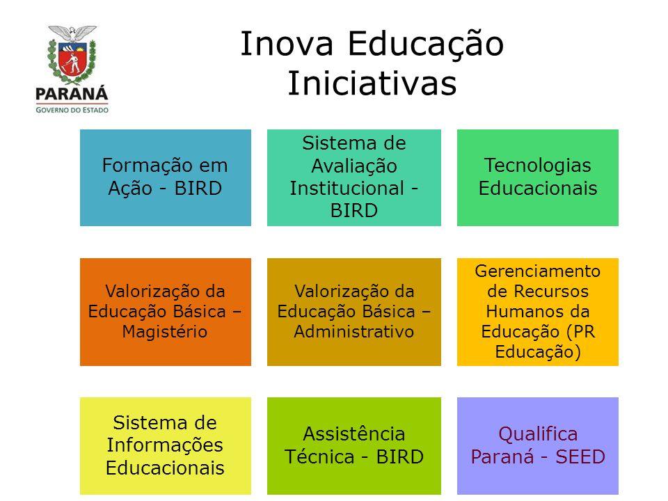 Inova Educação Iniciativas Formação em Ação - BIRD Sistema de Avaliação Institucional - BIRD Tecnologias Educacionais Valorização da Educação Básica – Magistério Valorização da Educação Básica – Administrativo Gerenciamento de Recursos Humanos da Educação (PR Educação) Sistema de Informações Educacionais Assistência Técnica - BIRD Qualifica Paraná - SEED