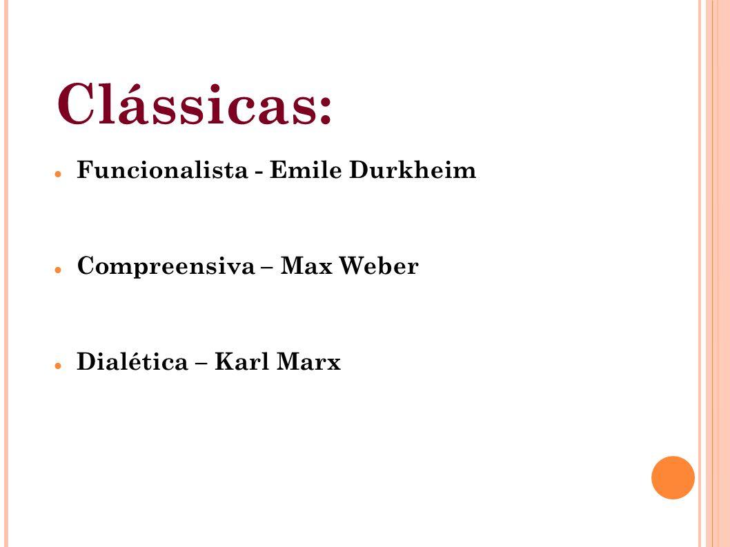 Clássicas: Funcionalista - Emile Durkheim Compreensiva – Max Weber Dialética – Karl Marx