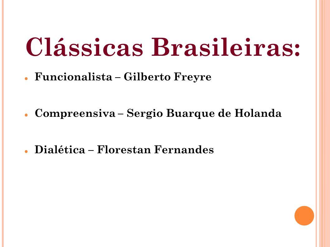 Clássicas Brasileiras: Funcionalista – Gilberto Freyre Compreensiva – Sergio Buarque de Holanda Dialética – Florestan Fernandes