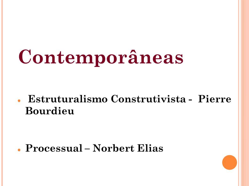 Contemporâneas Estruturalismo Construtivista - Pierre Bourdieu Processual – Norbert Elias