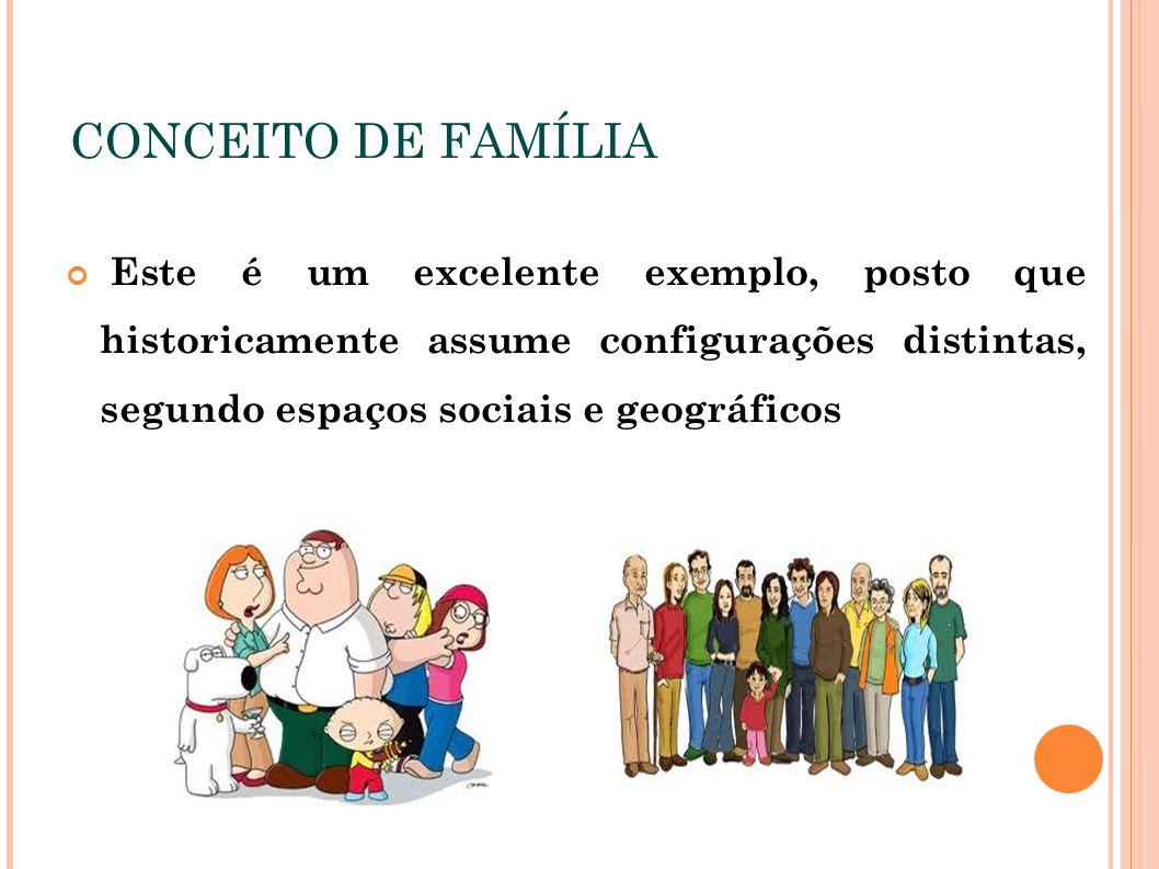 CONCEITO DE FAMÍLIA Este é um excelente exemplo, posto que historicamente assume configurações distintas, segundo espaços sociais e geográficos