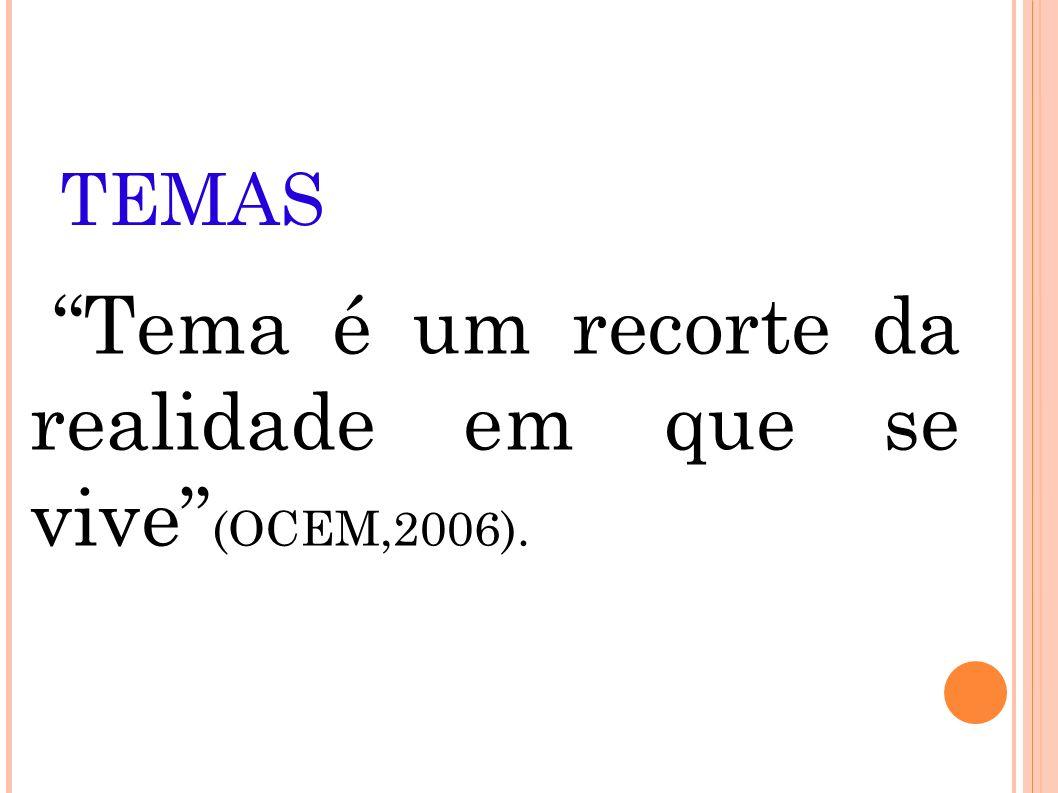 TEMAS Tema é um recorte da realidade em que se vive (OCEM,2006).