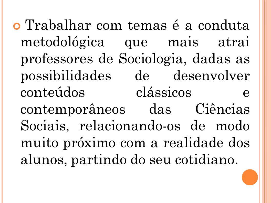 Trabalhar com temas é a conduta metodológica que mais atrai professores de Sociologia, dadas as possibilidades de desenvolver conteúdos clássicos e co