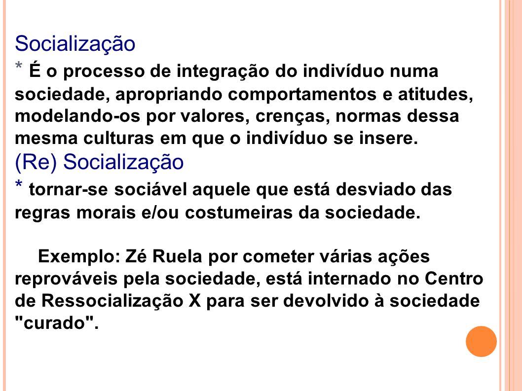 Socialização * É o processo de integração do indivíduo numa sociedade, apropriando comportamentos e atitudes, modelando-os por valores, crenças, norma