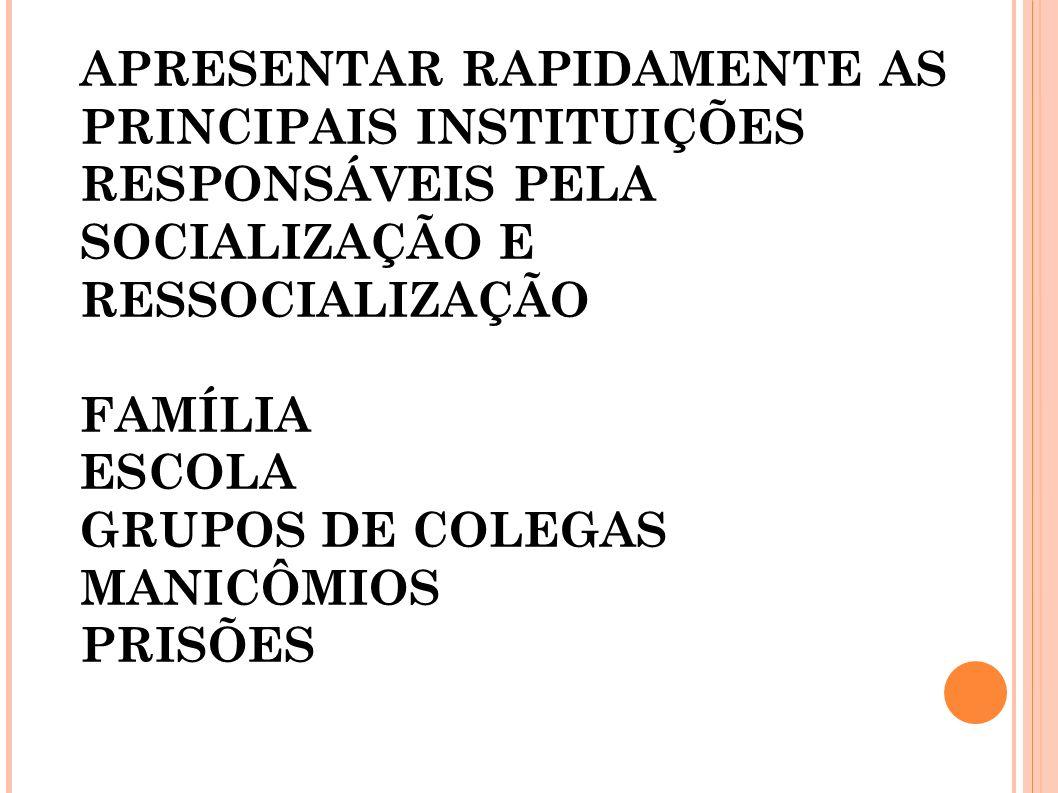 APRESENTAR RAPIDAMENTE AS PRINCIPAIS INSTITUIÇÕES RESPONSÁVEIS PELA SOCIALIZAÇÃO E RESSOCIALIZAÇÃO FAMÍLIA ESCOLA GRUPOS DE COLEGAS MANICÔMIOS PRISÕES
