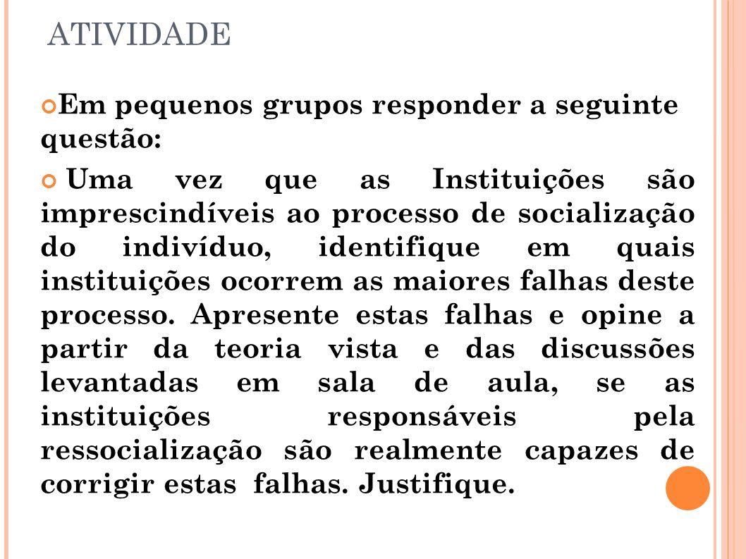 ATIVIDADE Em pequenos grupos responder a seguinte questão: Uma vez que as Instituições são imprescindíveis ao processo de socialização do indivíduo, i