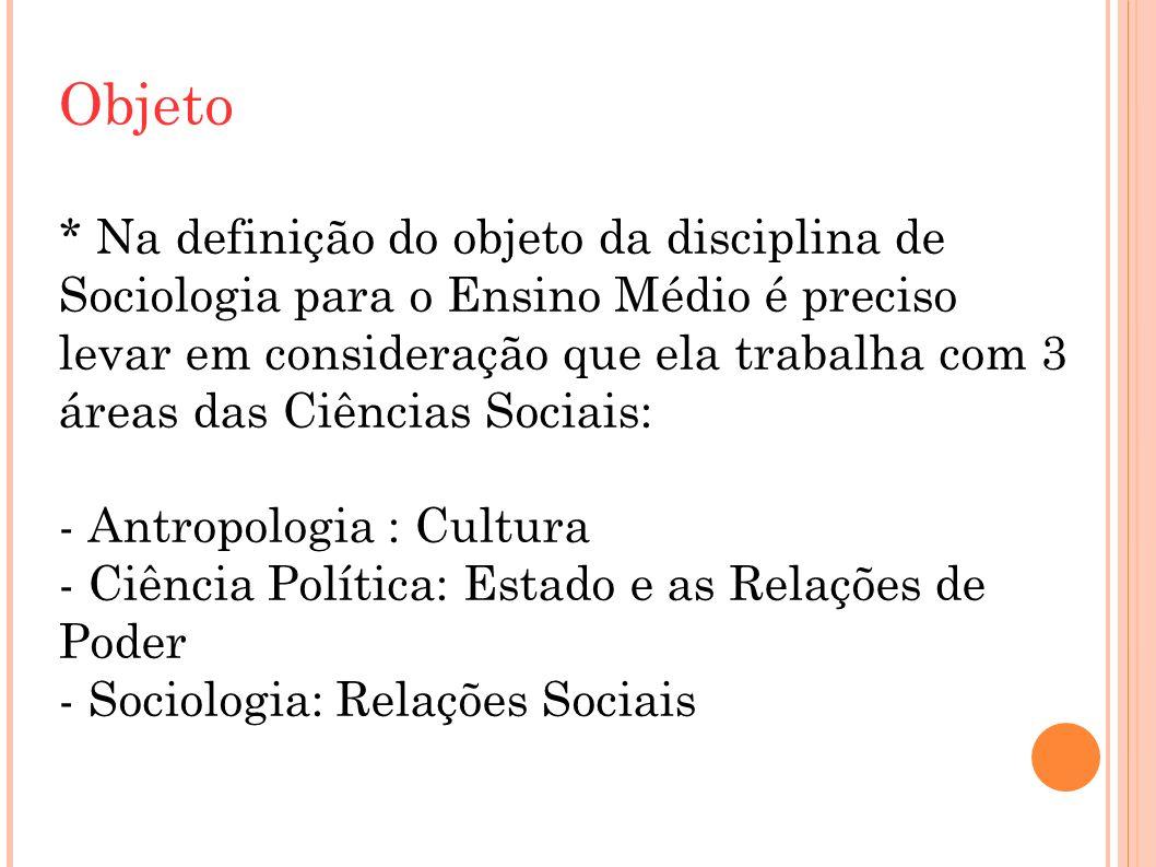 Objeto * Na definição do objeto da disciplina de Sociologia para o Ensino Médio é preciso levar em consideração que ela trabalha com 3 áreas das Ciênc