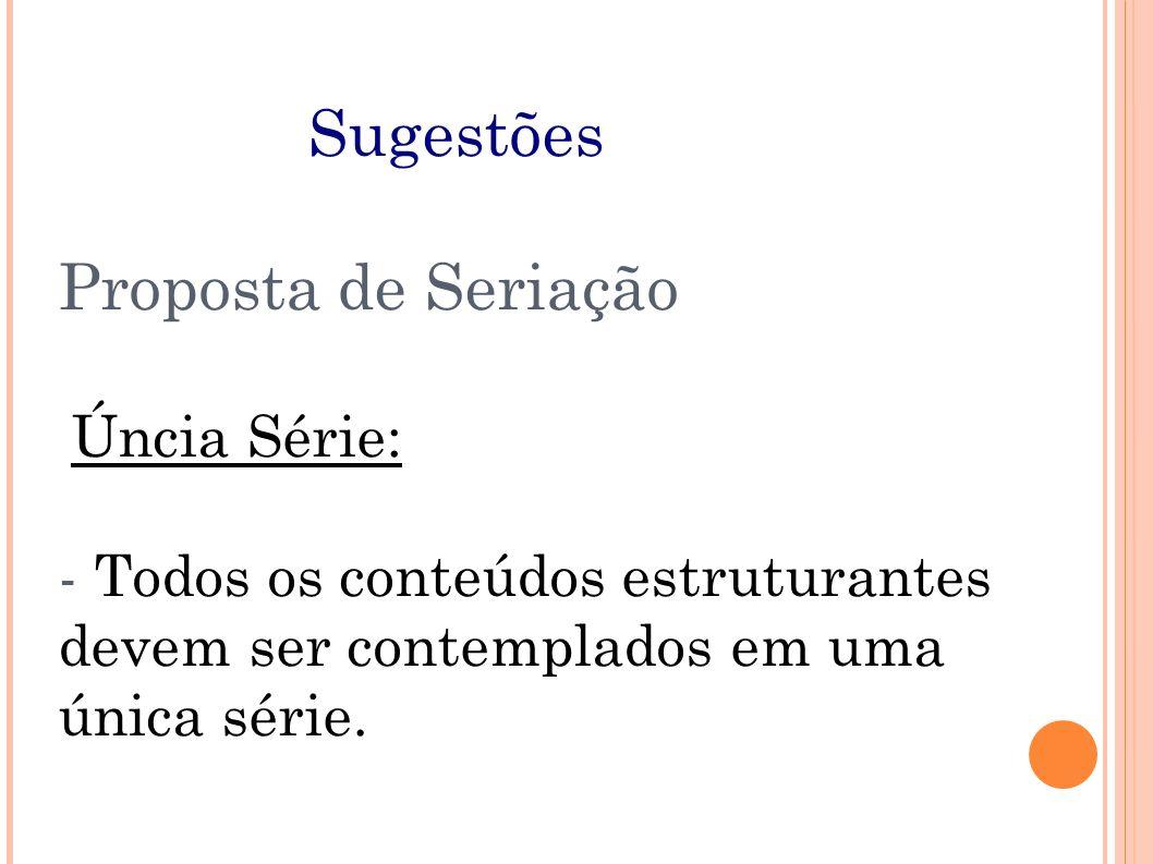 Sugestões Proposta de Seriação Úncia Série: - Todos os conteúdos estruturantes devem ser contemplados em uma única série.