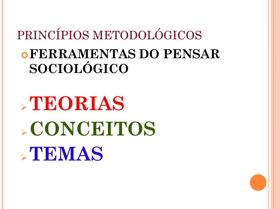 PRINCÍPIOS METODOLÓGICOS FERRAMENTAS DO PENSAR SOCIOLÓGICO TEORIAS CONCEITOS TEMAS