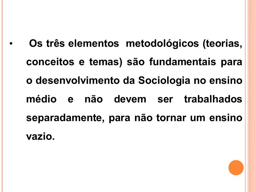 Os três elementos metodológicos (teorias, conceitos e temas) são fundamentais para o desenvolvimento da Sociologia no ensino médio e não devem ser tra