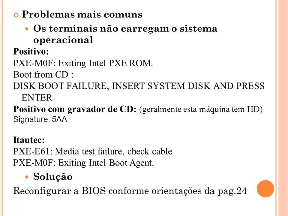 Problemas mais comuns Os terminais não carregam o sistema operacional Positivo: PXE-M0F: Exiting Intel PXE ROM.