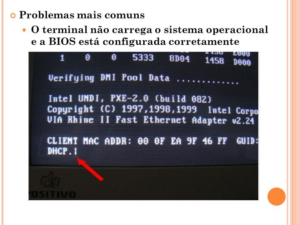 Problemas mais comuns O terminal não carrega o sistema operacional e a BIOS está configurada corretamente