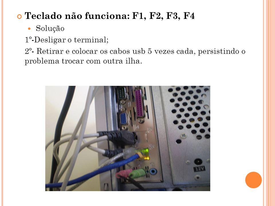 Teclado não funciona: F1, F2, F3, F4 Solução 1º-Desligar o terminal; 2º- Retirar e colocar os cabos usb 5 vezes cada, persistindo o problema trocar com outra ilha.
