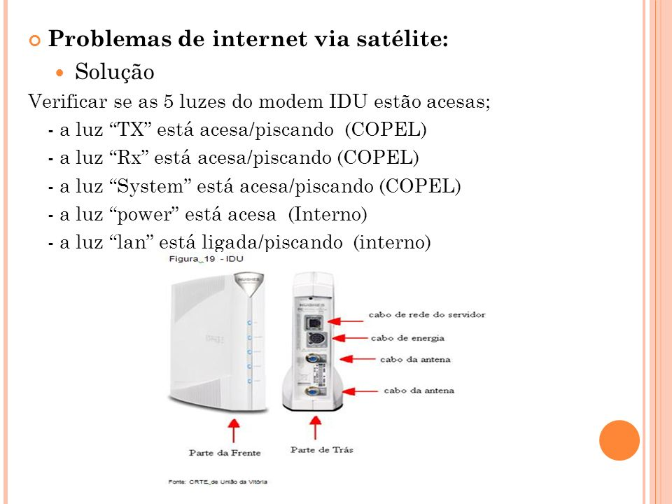 Problemas de internet via satélite: Solução Verificar se as 5 luzes do modem IDU estão acesas; - a luz TX está acesa/piscando (COPEL) - a luz Rx está acesa/piscando (COPEL) - a luz System está acesa/piscando (COPEL) - a luz power está acesa (Interno) - a luz lan está ligada/piscando (interno)