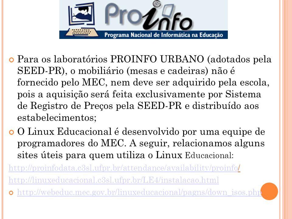 Para os laboratórios PROINFO URBANO (adotados pela SEED-PR), o mobiliário (mesas e cadeiras) não é fornecido pelo MEC, nem deve ser adquirido pela escola, pois a aquisição será feita exclusivamente por Sistema de Registro de Preços pela SEED-PR e distribuído aos estabelecimentos; O Linux Educacional é desenvolvido por uma equipe de programadores do MEC.