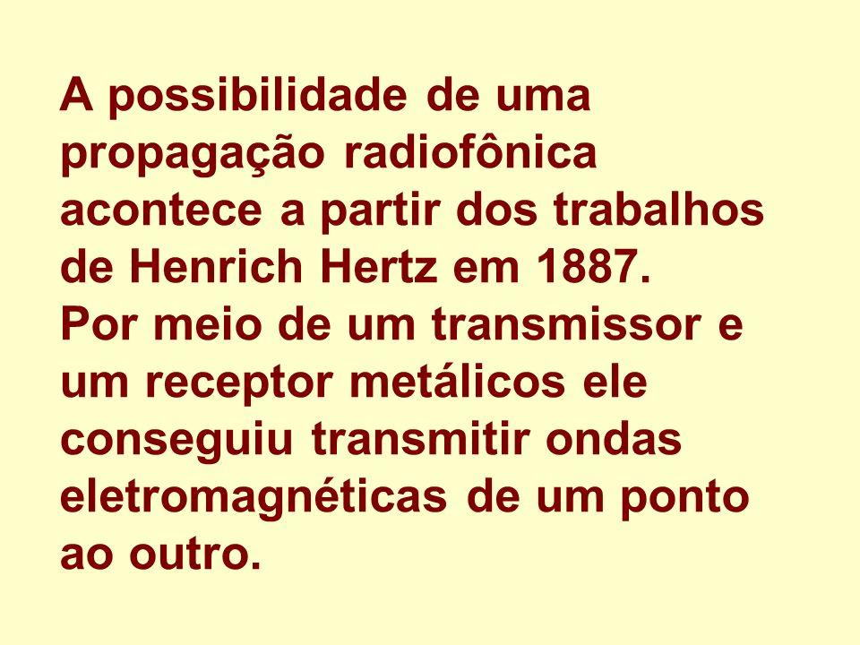 A possibilidade de uma propagação radiofônica acontece a partir dos trabalhos de Henrich Hertz em 1887. Por meio de um transmissor e um receptor metál