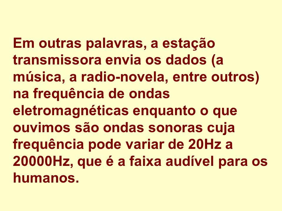 Em outras palavras, a estação transmissora envia os dados (a música, a radio-novela, entre outros) na frequência de ondas eletromagnéticas enquanto o