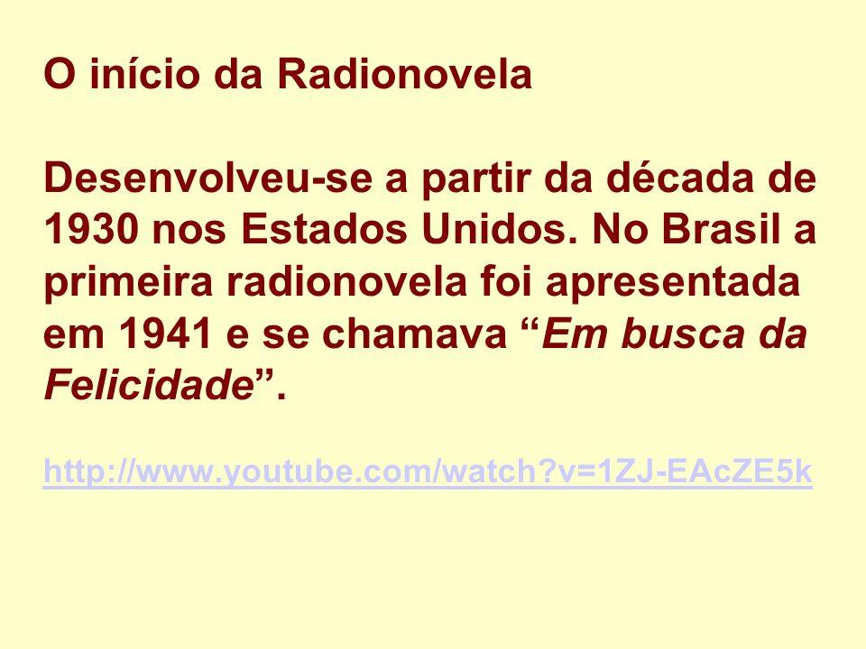 O início da Radionovela Desenvolveu-se a partir da década de 1930 nos Estados Unidos. No Brasil a primeira radionovela foi apresentada em 1941 e se ch