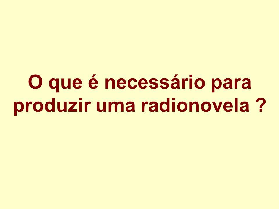 O que é necessário para produzir uma radionovela ?