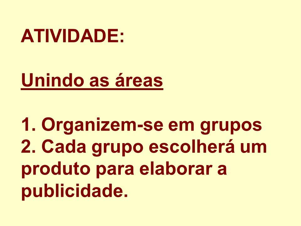 ATIVIDADE: Unindo as áreas 1. Organizem-se em grupos 2. Cada grupo escolherá um produto para elaborar a publicidade.