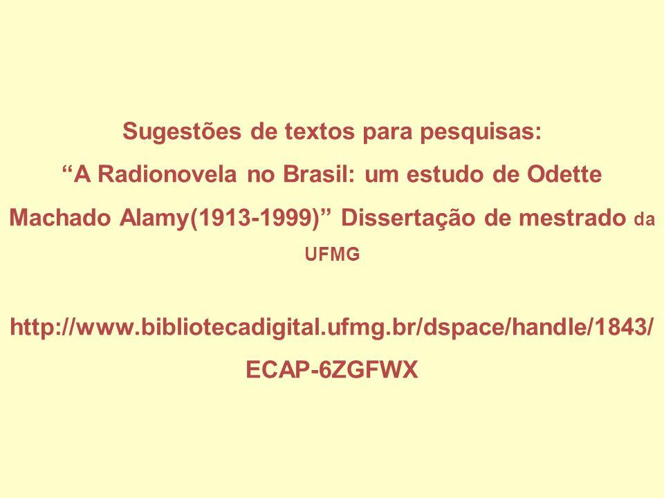 Sugestões de textos para pesquisas: A Radionovela no Brasil: um estudo de Odette Machado Alamy(1913-1999) Dissertação de mestrado da UFMG http://www.b