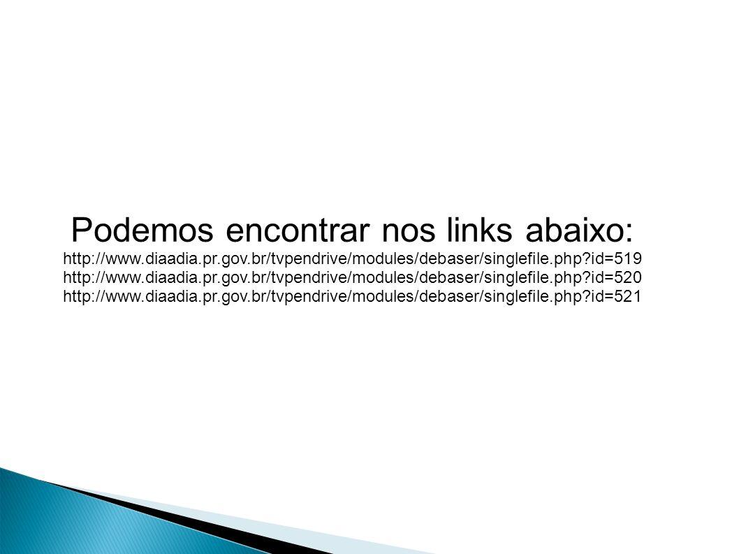 Podemos encontrar nos links abaixo: http://www.diaadia.pr.gov.br/tvpendrive/modules/debaser/singlefile.php id=519 http://www.diaadia.pr.gov.br/tvpendrive/modules/debaser/singlefile.php id=520 http://www.diaadia.pr.gov.br/tvpendrive/modules/debaser/singlefile.php id=521