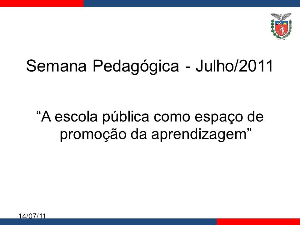 14/07/11 Semana Pedagógica – 21 de julho Os professores serão organizados por disciplina e por município; Vídeo Prof.