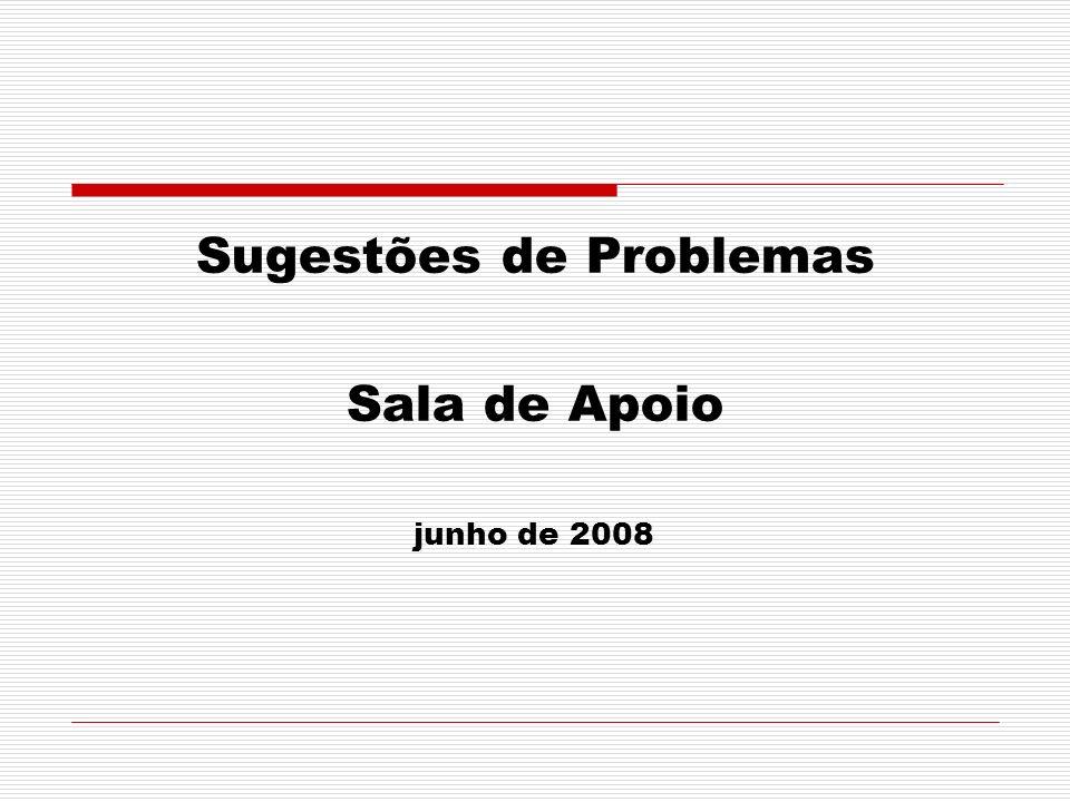 Sugestões de Problemas Sala de Apoio junho de 2008