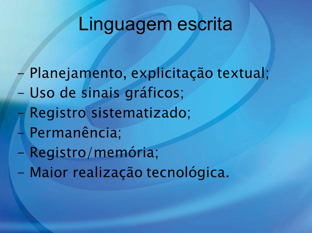 Linguagem escrita - Planejamento, explicitação textual; - Uso de sinais gráficos; - Registro sistematizado; - Permanência; - Registro/memória; - Maior