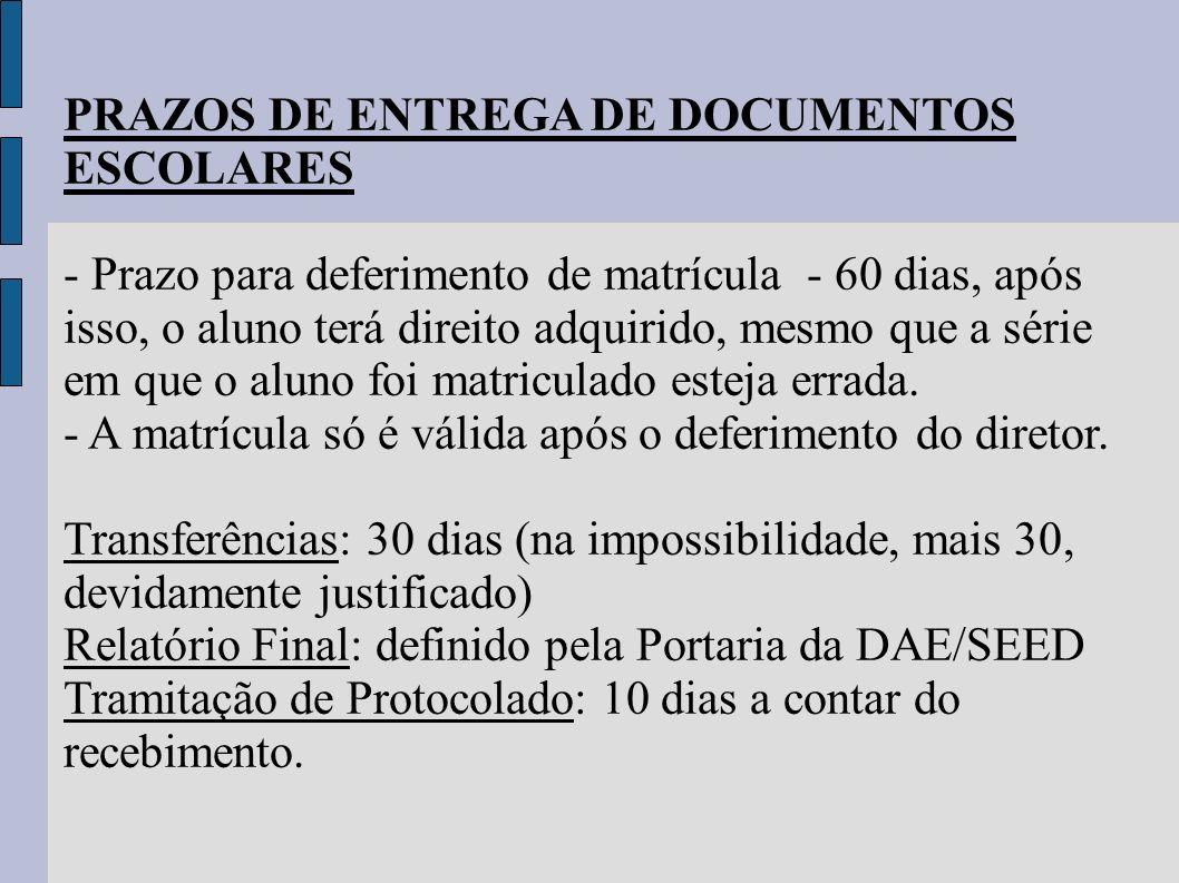 PRAZOS DE ENTREGA DE DOCUMENTOS ESCOLARES - Prazo para deferimento de matrícula - 60 dias, após isso, o aluno terá direito adquirido, mesmo que a séri