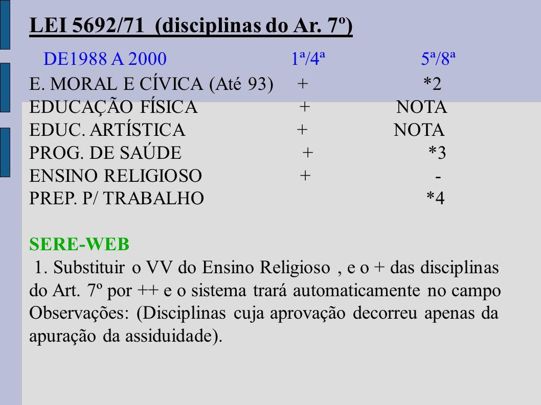 LEI 5692/71 (disciplinas do Ar. 7º) DE1988 A 2000 1ª/4ª 5ª/8ª E. MORAL E CÍVICA (Até 93) + *2 EDUCAÇÃO FÍSICA + NOTA EDUC. ARTÍSTICA + NOTA PROG. DE S