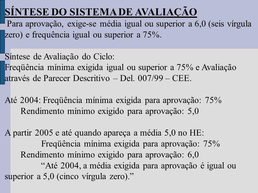 SÍNTESE DO SISTEMA DE AVALIAÇÃO Para aprovação, exige-se média igual ou superior a 6,0 (seis vírgula zero) e frequência igual ou superior a 75%. Sínte