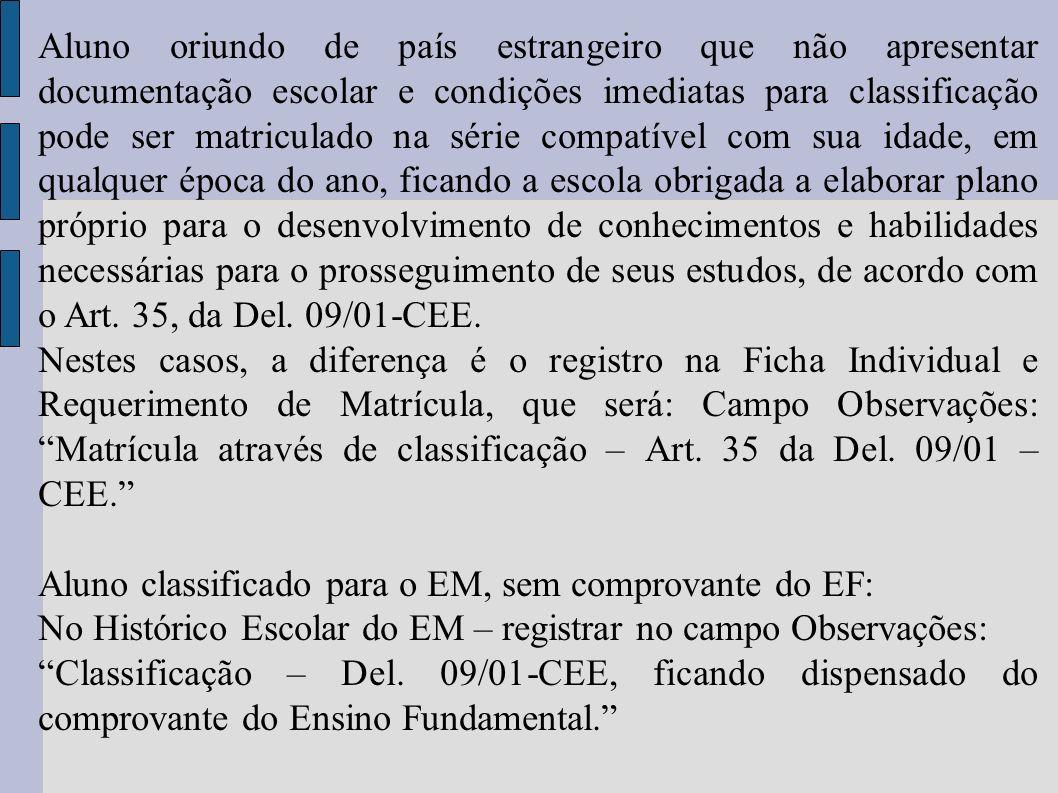 Aluno oriundo de país estrangeiro que não apresentar documentação escolar e condições imediatas para classificação pode ser matriculado na série compa