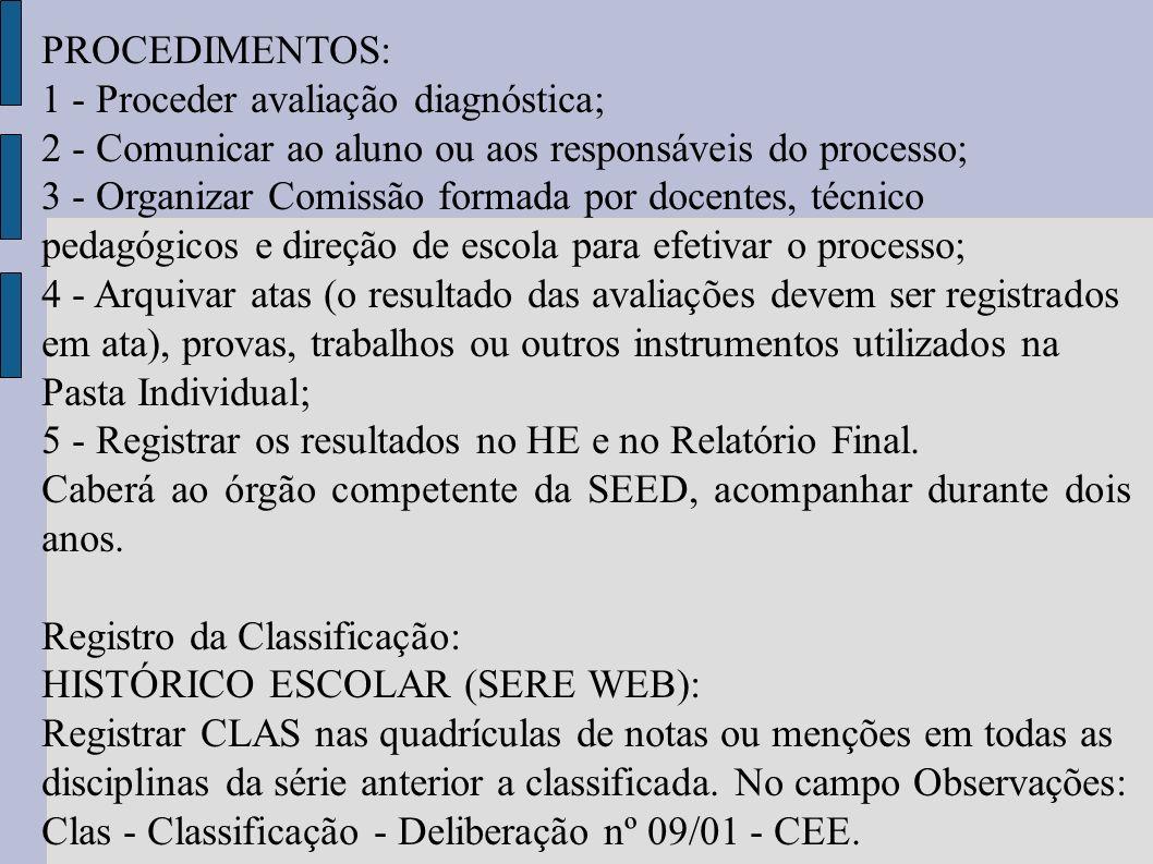 PROCEDIMENTOS: 1 - Proceder avaliação diagnóstica; 2 - Comunicar ao aluno ou aos responsáveis do processo; 3 - Organizar Comissão formada por docentes
