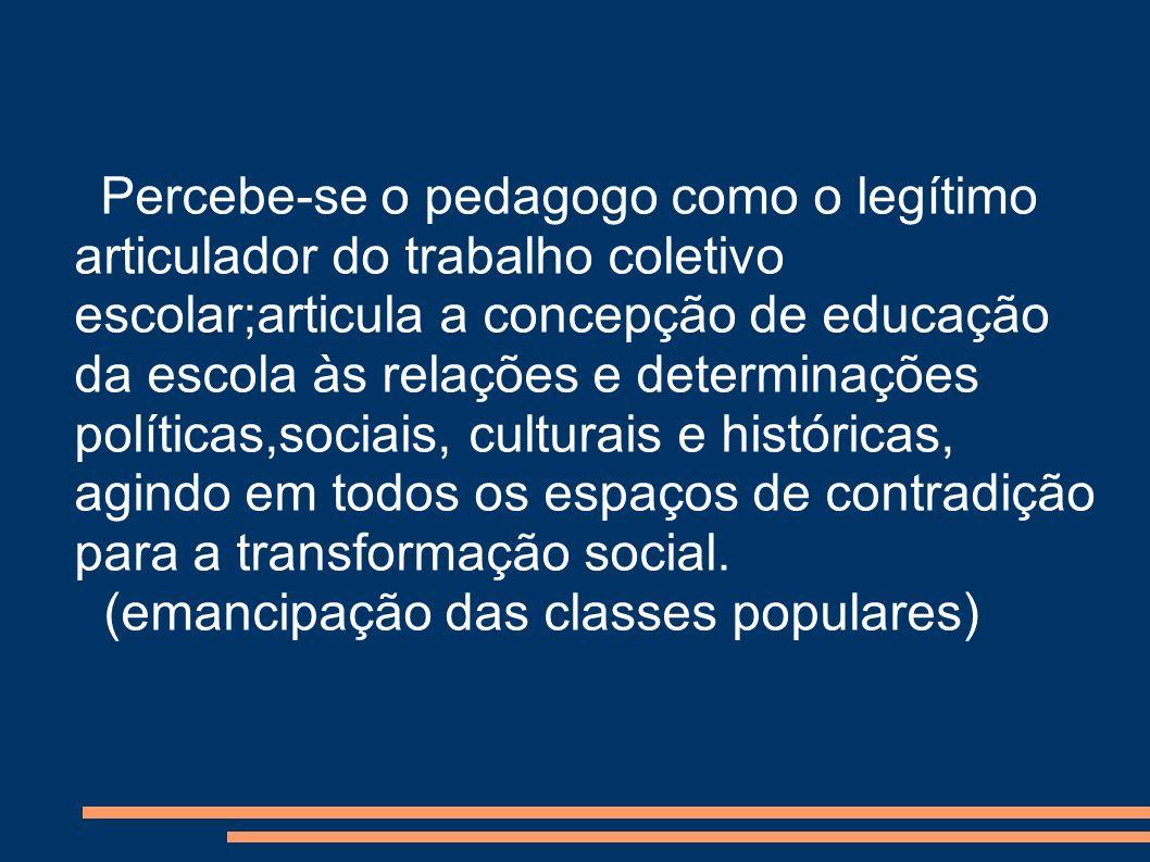 Percebe-se o pedagogo como o legítimo articulador do trabalho coletivo escolar;articula a concepção de educação da escola às relações e determinações políticas,sociais, culturais e históricas, agindo em todos os espaços de contradição para a transformação social.