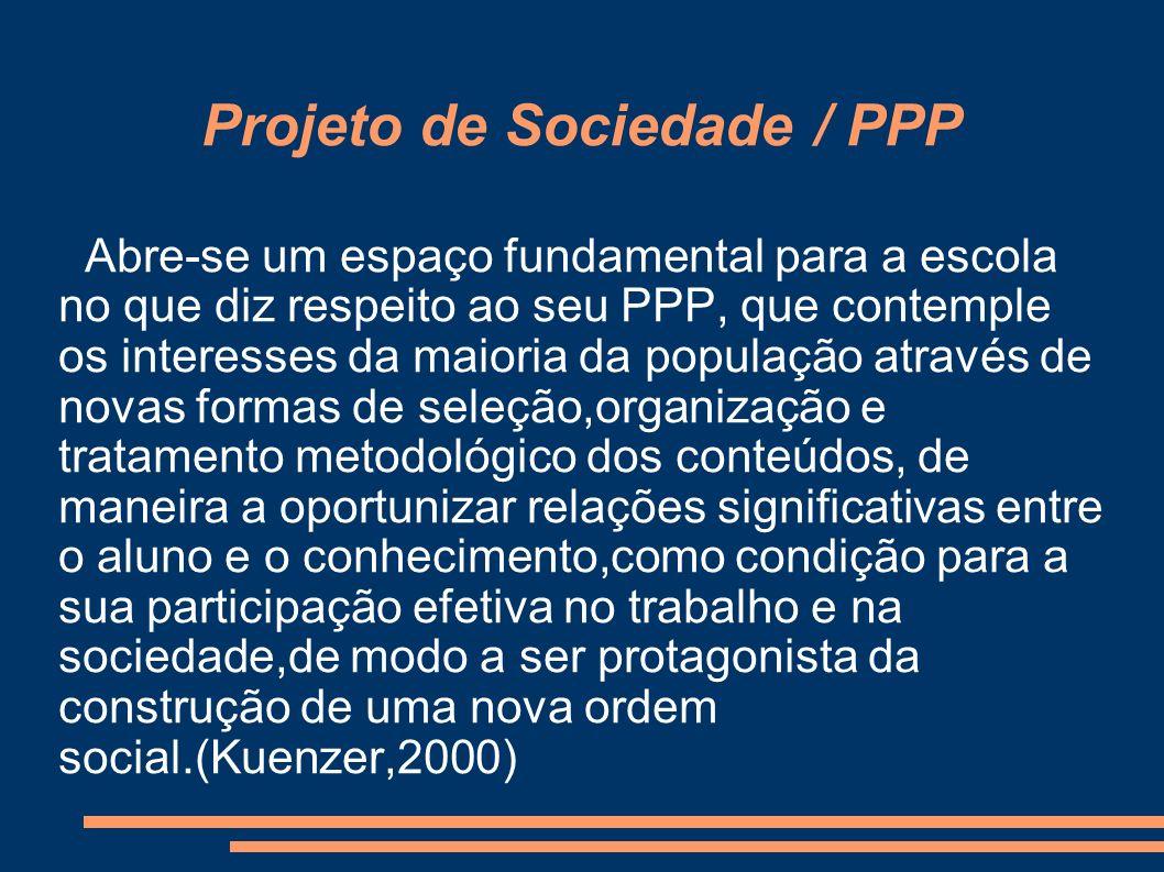 Projeto de Sociedade / PPP Abre-se um espaço fundamental para a escola no que diz respeito ao seu PPP, que contemple os interesses da maioria da popul