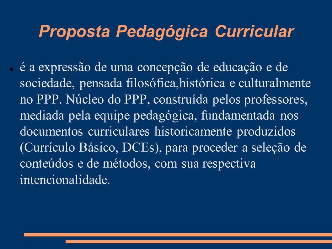 Proposta Pedagógica Curricular é a expressão de uma concepção de educação e de sociedade, pensada filosófica,histórica e culturalmente no PPP.