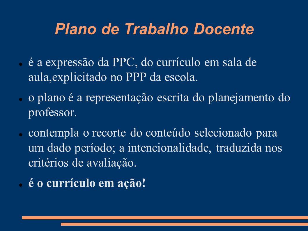 Plano de Trabalho Docente é a expressão da PPC, do currículo em sala de aula,explicitado no PPP da escola. o plano é a representação escrita do planej