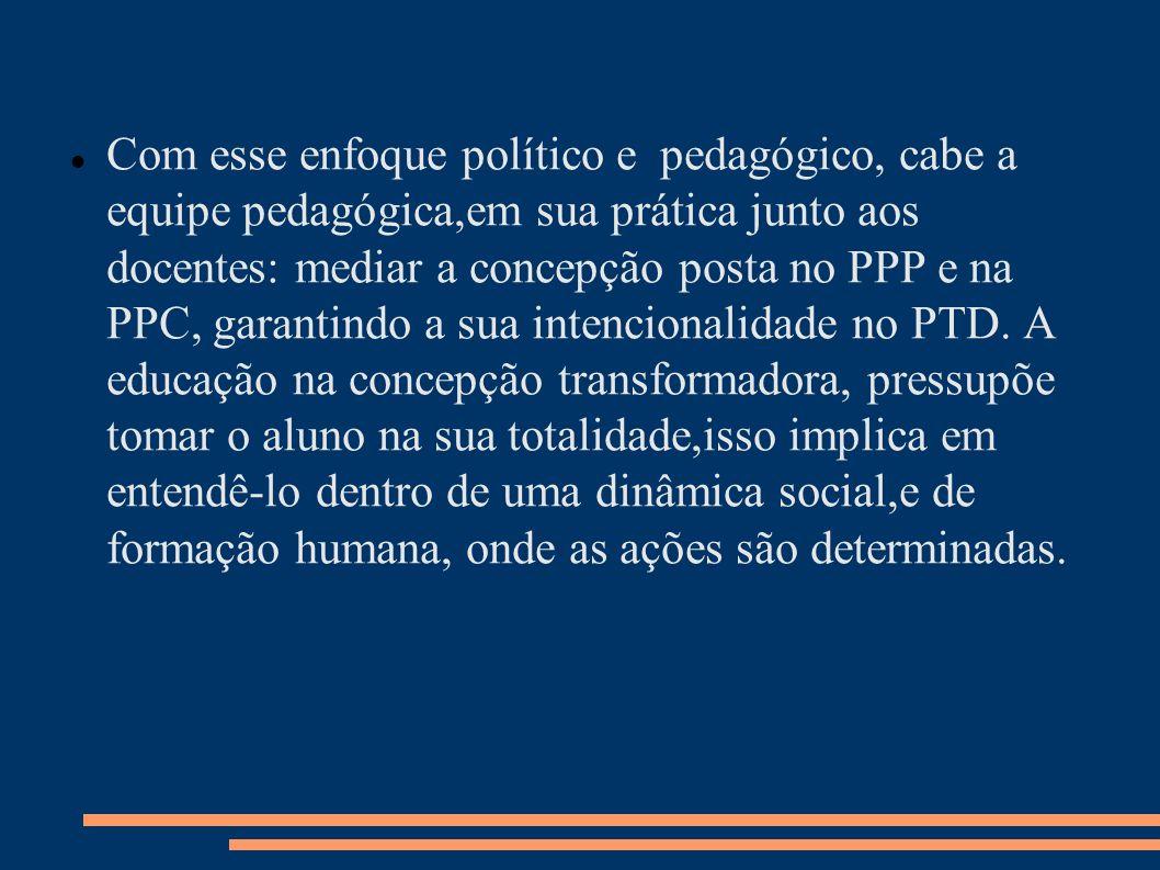 Com esse enfoque político e pedagógico, cabe a equipe pedagógica,em sua prática junto aos docentes: mediar a concepção posta no PPP e na PPC, garantindo a sua intencionalidade no PTD.